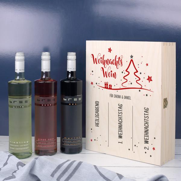 Weihnachtswein in edler Holzbox mit persönlichem Aufdruck