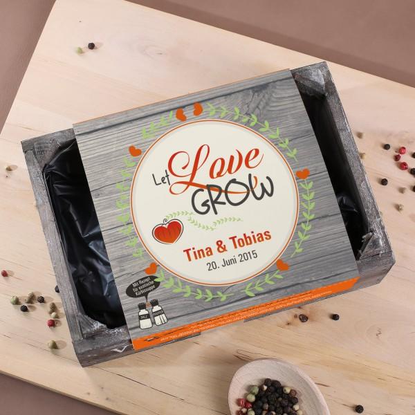 Let Love Grow Pflanzset zur Hochzeit mit Rezept für exotische Kürbissuppe
