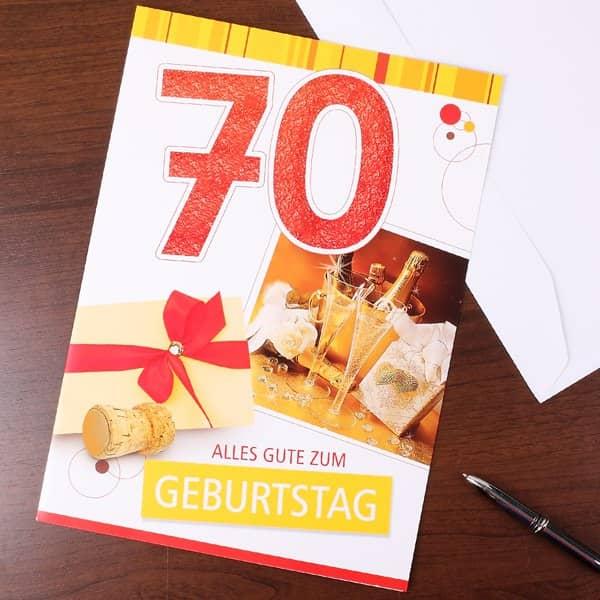 Gl ckwunschkarte zum 70 geburtstag in xl geschenke - Dekoration zum 70 geburtstag ...