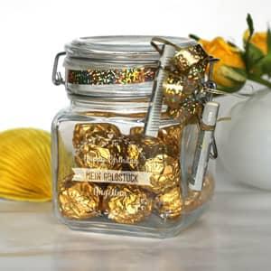 Persönliche Glasdose für Geldgeschenke zum Geburtstag