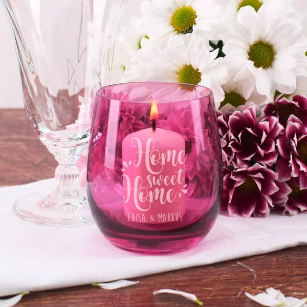 Home sweet Home Windlicht graviert mit Name in lila