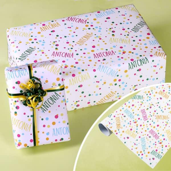 Konfetti Geschenkpapier mit Ihrem Wunschnamen
