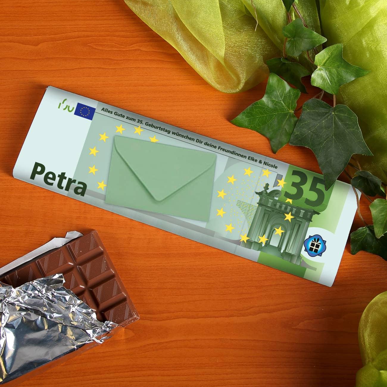euro schokolade mit name alter und wunschtext geschenke. Black Bedroom Furniture Sets. Home Design Ideas
