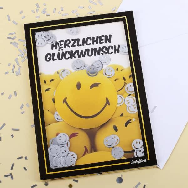 Konfetti Schüttel Glückwunschkarte mit gelben Smiley