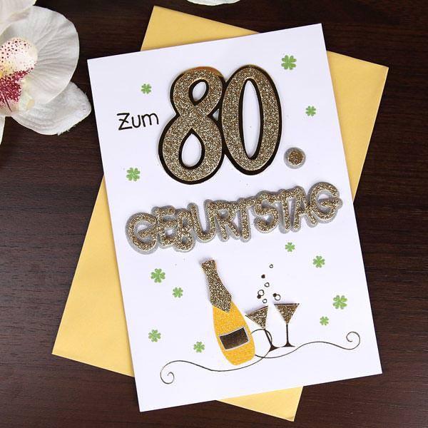 glitzernde Glückwunschkarte zum 80. Geburtstag