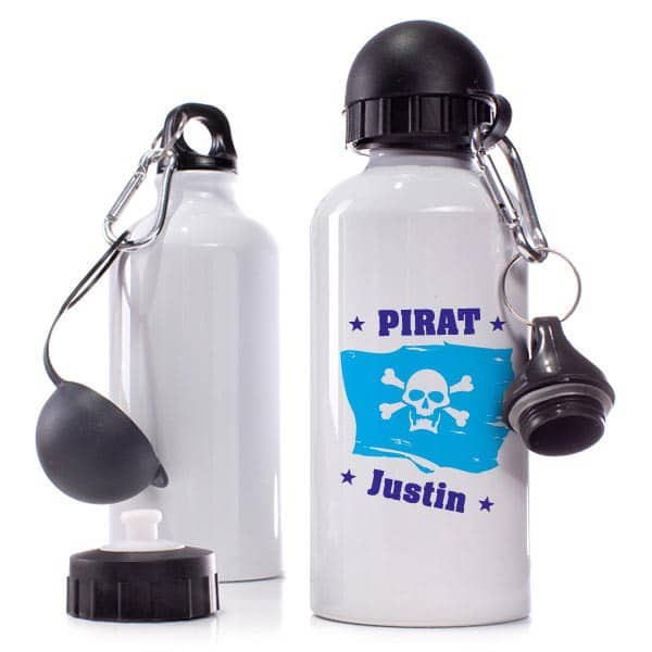 Trinkflasche Piratenfahne mit Wunschnamen