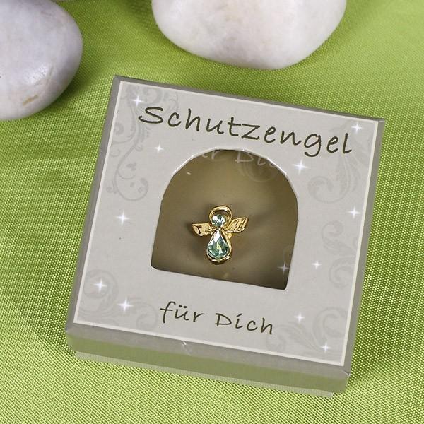 Schutzengelanstecker in Gold/Grün
