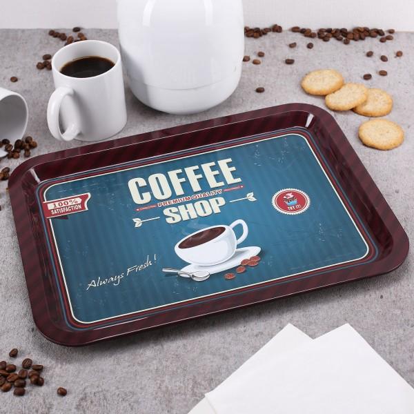 Tablett aus Blech mit Coffee Motiv