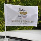 Liebe, Glück & Abenteuer - bedruckte Autofahne zur Hochzeit
