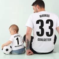 Kleine und Große Fußballhelden T-Shirts im Partnerlook für Vater und Sohn