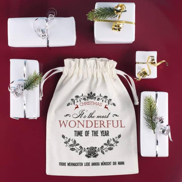 Geschenksäckchen aus Stoff zu Weihnachten mit Wunschext