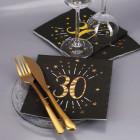 Servietten zum 30. Geburtstag - schwarz/gold-metallic