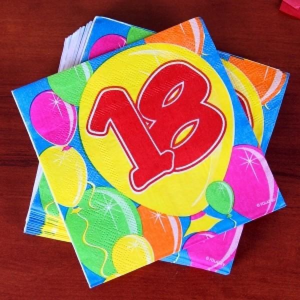 Geburtstagsservietten Ballon zum 18.