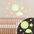 Leuchtfolienaufkleber - kleiner Mond mit Sternen - 30 teilig mit Name des Babys