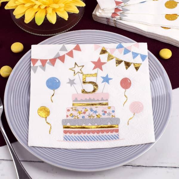 Geburtstags-Servietten zum 5. Geburtstag