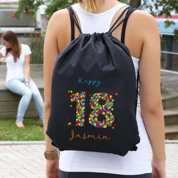 Schwarzer Rucksack zum 18. Geburtstag