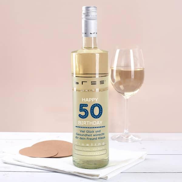 Weinflasche Happy Birthday 50