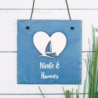 Schieferplatte - Maritime Liebe - mit Holzapplikation und Wunschtext