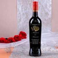 Weinflasche mit Gravur und Swarovski-Kristallen zur Hochzeit
