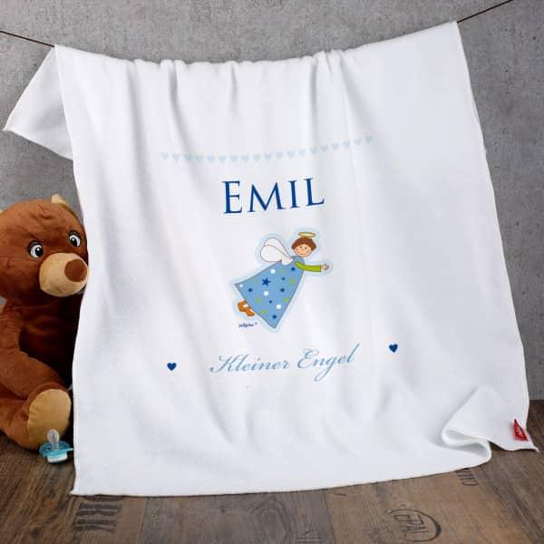 Schutzengel Babydecke für kleine Jungen in hellblau
