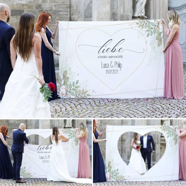 Hochzeitsbanner zum ausschneiden mit Namen und Datum