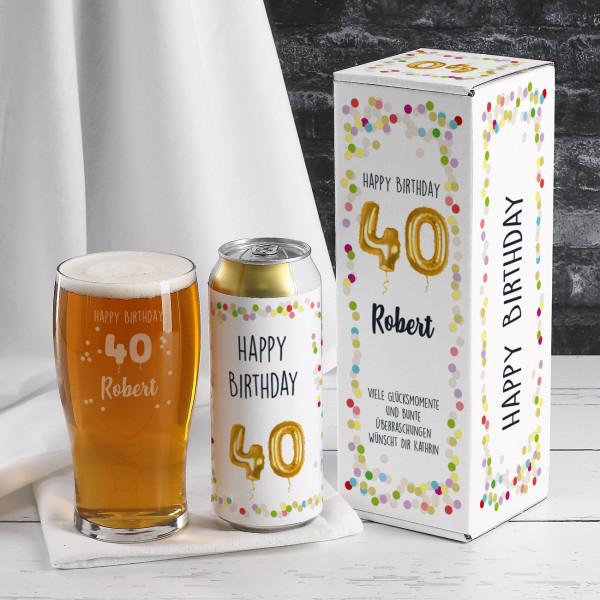 Happy Birthday 40 - persönliches Biergeschenk zum Geburtstag
