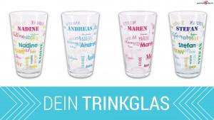 bedrucktes Trinkglas mit Namen in verschiedenen Schriftarten