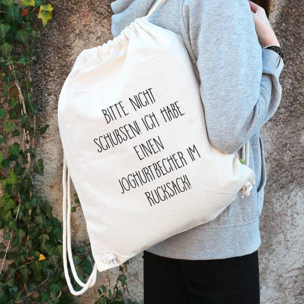 Baumwoll Rucksack mit lustigem Spruch Bitte nicht schubsen! und Wunschtext