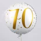 Folienballon zum 70. Geburtstag in weiß mit Sternen