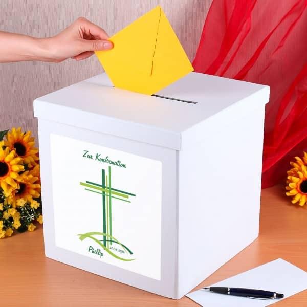 Kartenbox zur Konfirmation mit Name