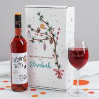 Wein-Geschenkset zu Weihnachten mit Lieblingswein, Weinglas in festlicher Geschenkbox
