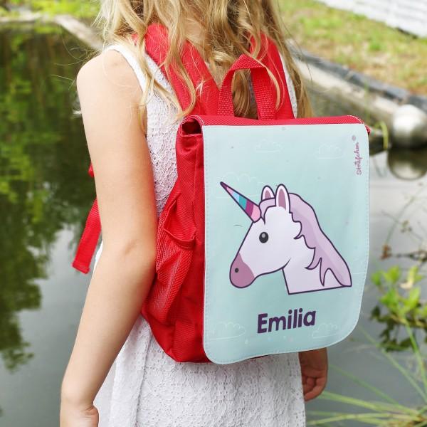 Einhorn Emoticon Kinderrucksack in rot mit Ihrem Wunschnamen