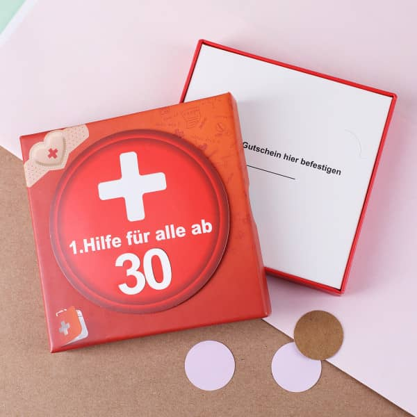 Geschenkschachtel 1.Hilfe zum 30. Geburtstag aus Pappe