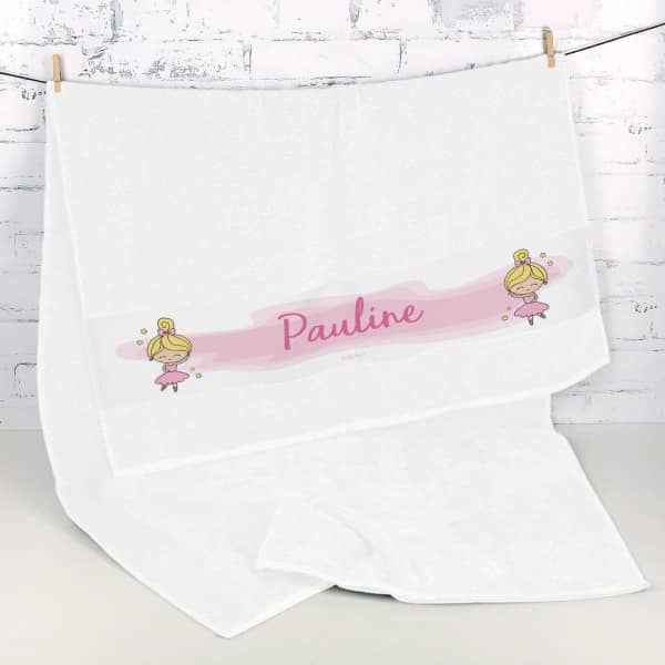 Individuellbadzubehör - Handtuch mit Ballerina und Name - Onlineshop Geschenke online.de