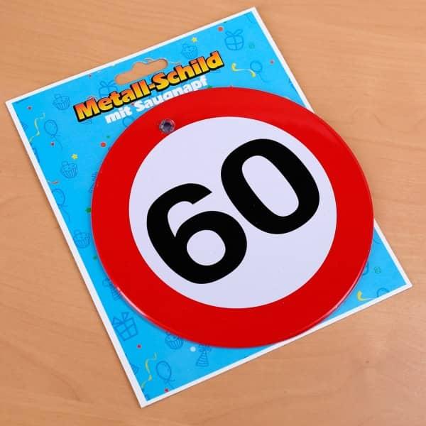Metallschild mit Saugnapf zum 60. Geburtstag
