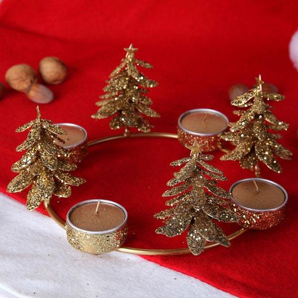 metall teelichthalter tannenbaum gold. Black Bedroom Furniture Sets. Home Design Ideas