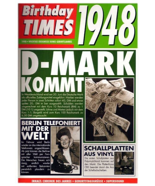 Birthday Times Karte mit Sound 1948