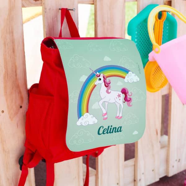 Rucksack für Kinder mit Einhorn, Regenbogen und Name