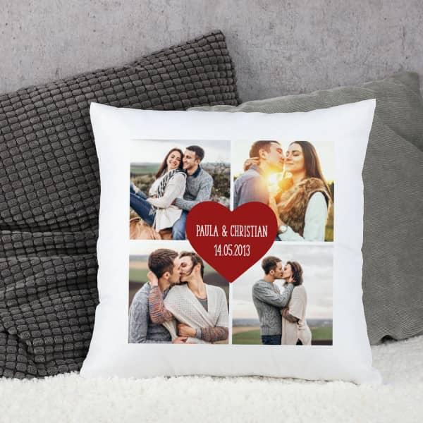 Kissen mit 4 Fotos und Wunschtext