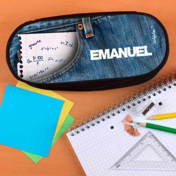Stiftebox mit lässigem Jeansmotiv