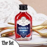 12 personalisierte Schnapsflaschen zur silbernen Hochzeit