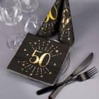 Servietten zum 50. Geburtstag - schwarz/gold-metallic