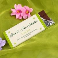 Gastgeschenk zur Hochzeit - Schokolade mit den Namen des Paares