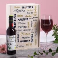 Biorebe Wein mit graviertem Glas und persönlicher Holzbox