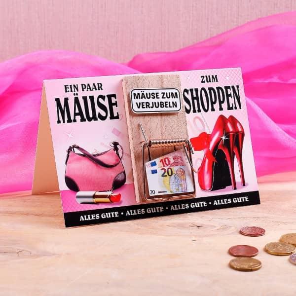 Karte mit Mausefalle - Ein paar Mäuse zum Shoppen