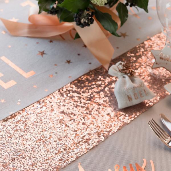 Pailletten Tischläufer in Rosegold