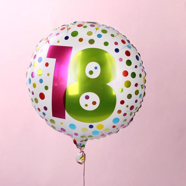 Folienluftballon zum 18. Geburtstag in weiß mit bunten Punkten