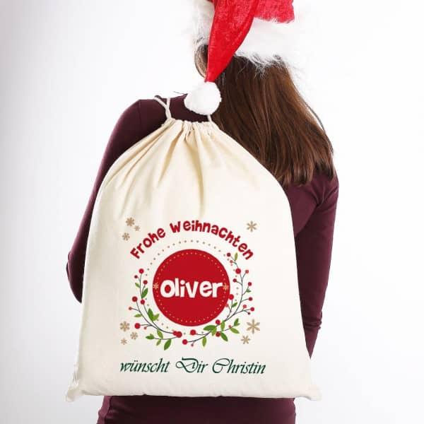 Geschenksack Frohe Weihnachten mit Name und Wunschtext