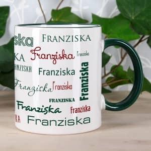 Tasse mit Name in Dunkelgrün