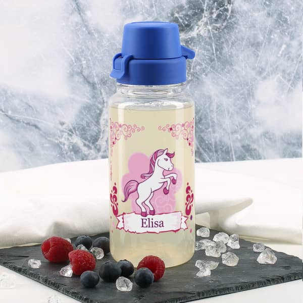 Transparente Trinkflasche mit Pink Pony und Name 0,4 L